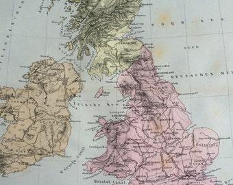1880 Britain and Ireland original antique map, cartography, geography, wall decor, home decor - British Isles England Scotland Wales