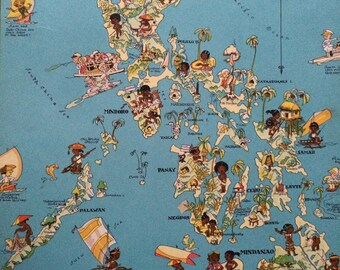 1935 The Philippine Islands Original Vintage Cartoon Map - Ruth Taylor White -  Mounted and Matted - Whimsical Map - Philippines