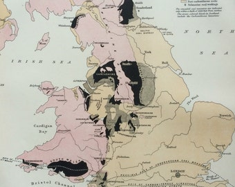 1875 Coal Fields of Great Britain Original Antique Map - Available Matte and Framed - Coal Mining - Coal Mine - Miner