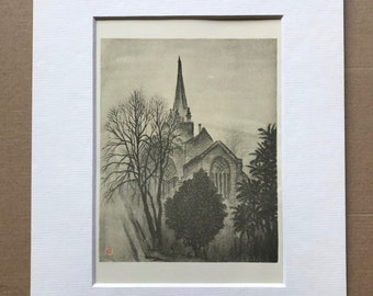 1948 Oxford - Evening View of St Aldate's Original Vintage Chiang Yee Illustration - Mounted and matted - Available Framed