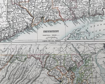 1898 Connecticut and Maryland Large Original Antique A & C Black Map - United States - Victorian Wall Decor - Wedding Gift Idea
