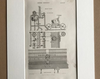 1858 Cotton Spinning - Organ Jenny Diagram Original Antique Engraving - Victorian Technology - Machinery - Available Framed