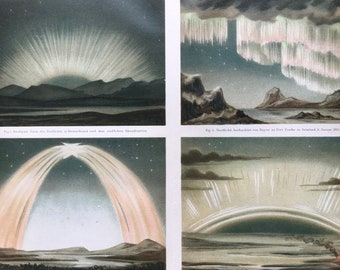 1896 Polar Lights Large Original Antique Lithograph - Available Mounted and Matted - Northern Lights - Aurora - Astronomy - Meteorology