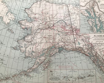 1903 Alaska Large Original Antique Map with inset maps of Sitka, Glacier Bay and Vicinity and the western portions of the Aleutian Islands