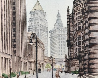 1950 Municipal Building in Summer Haze, Manhattan, New York Original Vintage Chiang Yee Illustration - Mounted and Matted - Available Framed