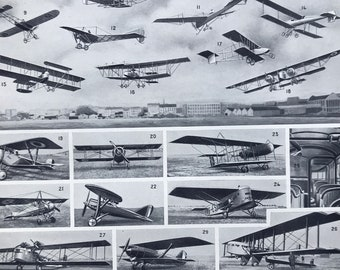 1928 Aeronautics Original Antique Print - Airplane - Aviation - Paragliding - Gift for Pilot - Mounted and Matted - Available Framed