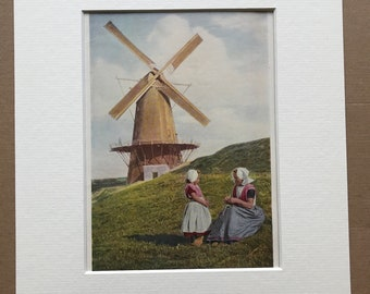 1940s Netherlands - Woman and Child in front of Windmill, Walcheren Original Vintage Photo Print - Mounted and Matted - Available Framed