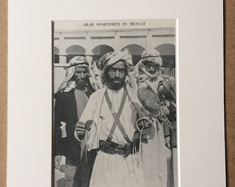 1940s Arab Sportsman in Muscat Original Vintage Print - Mounted and Matted - Oman - Hawking - Falconry - Available Framed
