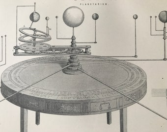 1891 Planetarium Original Antique Print - Orrery - Planet - Astronomy - Available Matted and Framed