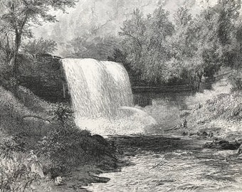 1874 Falls of Minnehaha, Minneapolis, Minnesota Original Antique Engraving - Mounted and Matted - Available Framed - United States