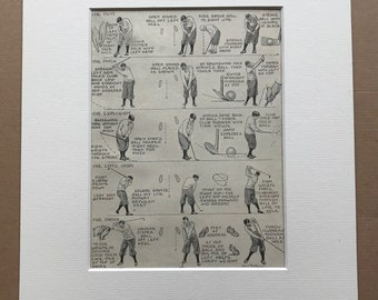 1940s Strokes a Good Golfer needs to know Original Vintage Print - Sports - Golf - Mounted and Matted - Available Framed