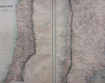 1859 Central Chile and Chili La Plata or the Argentine Republic and Bolivia extra large rare original antique A & C Black Map