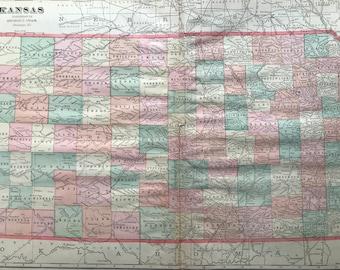 1907 Kansas Large Original Antique Map - Vintage Decor, United States, KS State Map