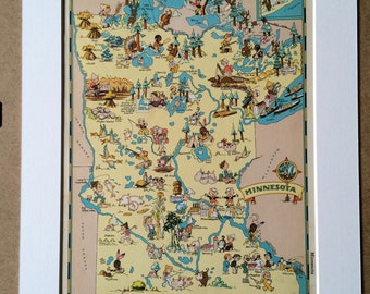 1935 Minnesota Original Vintage Cartoon Map - Ruth Taylor - Available Mounted and Matted - Whimsical Map - United States