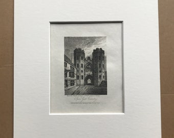 1816 Spon Gate, Coventry Small Original Antique Engraving - Architecture - England - Mounted and Matted - Available Framed
