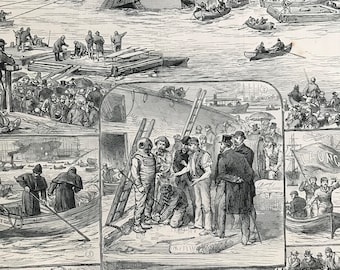 1883 Sketches of the Ship Launch Disaster in Glasgow Original Antique Engraving - Victorian Decor - Scotland - Local History