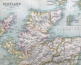 1912 Scotland (Northern Part) Original Antique Map - Mounted and Matted - Available Framed