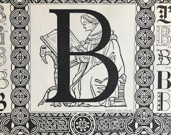 1928 Letter B Original Antique Print - Mounted and Matted - Decorative Art - Alphabet - Gift Idea - Name Day Present - Available Framed
