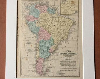 1855 South America Original Antique hand coloured Map with showing native tribes and inset map of isthmus of Darien