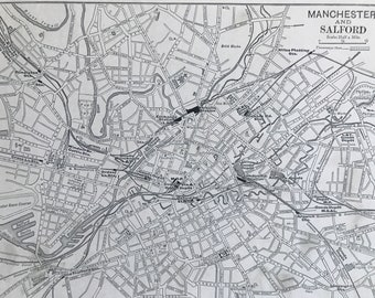 1894 Manchester and Salford Original Antique Map - City Plan - Mounted and Matted - Available Framed