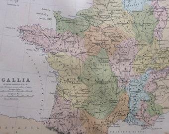1876 Gallia Original Antique Map - Classics - Ancient History France Map -  Gift Idea - Vintage Map - Wall Decor