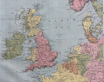 1865 The British Isles Original Antique Hand-Coloured Engraved Square Map - Nelson's Atlas - Wall Decor - World Map - Home Decor