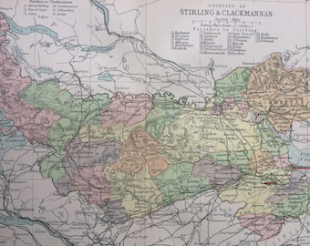 1902 Counties of Stirling & Clackmannan Small Original Antique Map - Scotland - Scottish History - Wall Decor - Scottish County