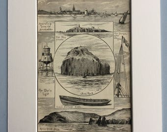 1890 The Cruise of the Christabel Original Antique Engraving - Victorian Decor - Robin Hood Bay, Farn Islands - Available Framed