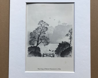 1956 Paris - The Crag of Buttes Chaumont in Mist Original Vintage Chiang Yee Illustration - Mounted and matted - Available Framed