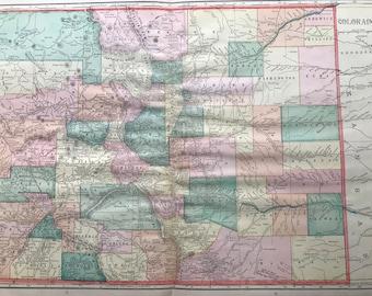 1907 Colorado Large Original Antique Map - Vintage Decor, United States, CO State Map