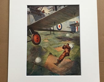 1927 An RAF Officer during Parachute Practice Original Vintage Print - Aircraft - Airplane - Mounted and Matted - Available Framed