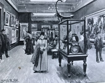 1894 The City Art Gallery, Mosley Street - Interior Original Antique Print - Manchester - Mounted and Matted - Available Framed