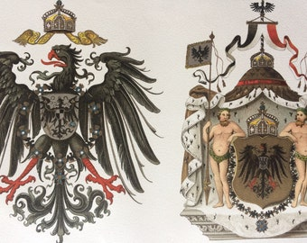 1894 Imperial Eagle and Imperial Coat of Arms Original Antique Lithograph - Mounted and Matted - Prussia - Vintage Wall Decor
