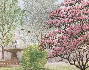 1956 Paris - Spring in the Garden of the Champs Elysees Original Vintage Chiang Yee Illustration - Mounted and matted - Available Framed