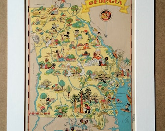 1935 Georgia Original Vintage Cartoon Map - Ruth Taylor - Mounted and Matted - Whimsical Map - United States