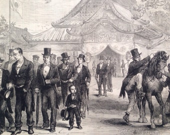 1877 Japanese Government Officials returning from paying their respects to the Mikado Original Antique Engraving, Japan, Political history
