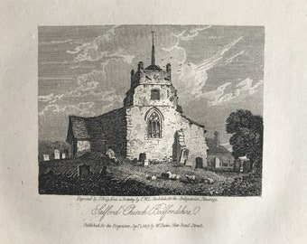 1816 Salford Church, Bedfordshire Small Original Antique Engraving - Architecture - England - Mounted and Matted - Available Framed