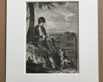 c.1860 The Peasant Boy and his Dog Original Antique Print - Dog - Canine Decor - Animal Art - Mounted and Matted - Available Framed
