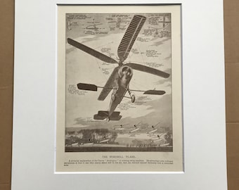 1927 The Windmill Plane Original Vintage Print - Aircraft - Airplane - Mounted and Matted - Available Framed