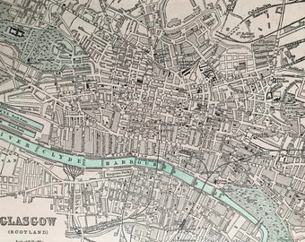 1901 Glasgow Original Antique Map - Scotland - City Plan - Mounted and Matted - Available Framed