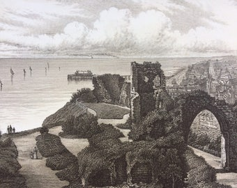 1895 Hastings from the Castle, Sussex Original Antique steel engraving print - Fine Detail - Landscape - Available Framed - Coast