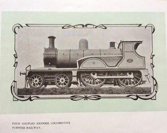 1902 Four Coupled Express Locomotive - Furness Railway Original Antique Print - Mounted and Matted - Available Framed - Gift for Him
