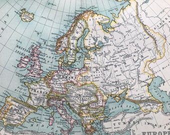 1912 Europe Original Antique Map - Mounted and Matted - Available Framed
