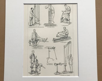 1924 Therapeutic Gymnastics - Medical Mechanical Apparatus Original Antique Lithograph - Mounted and Matted - Available Framed