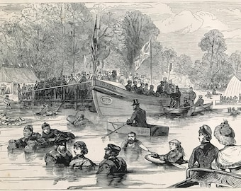 1883 Trial of Life-Saving Apparatus on the Serpentine, Hyde Park Original Antique Print - Life Vest - Mounted and Matted - Available Framed