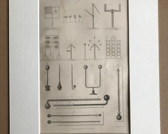 1858 Telegraph Thermometer Original Antique Engraving - Victorian Technology - Available Framed