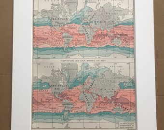 1897 Sea Water Temperature in February and August Original Antique Map - Meteorology - Oceanography - Mounted and Matted - Available Framed