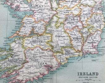 1912 Ireland (Southern Part) Original Antique Map - Mounted and Matted - Available Framed