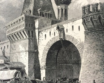 1876 Nikolsky Gate, Moscow Original Antique Wood Engraving - Russia - Mounted and Matted - Available Framed