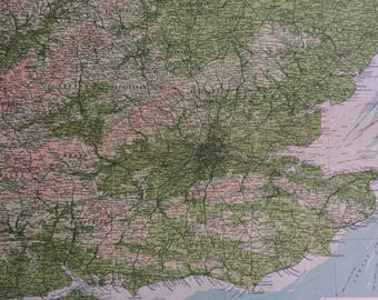 1922 ENGLAND (South-East) Large Original Antique Times Atlas Physical Map with inset map of the Channel Islands - London - East Anglia